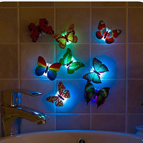 DOODEEN Colors Changing Stick-on Led Flashing Butterfly Night Light-Romantic Magic Colorful Butterfly Decorative Light Home Decorative Lights-Wall Xmas Decor LED Night Light Pack of 10