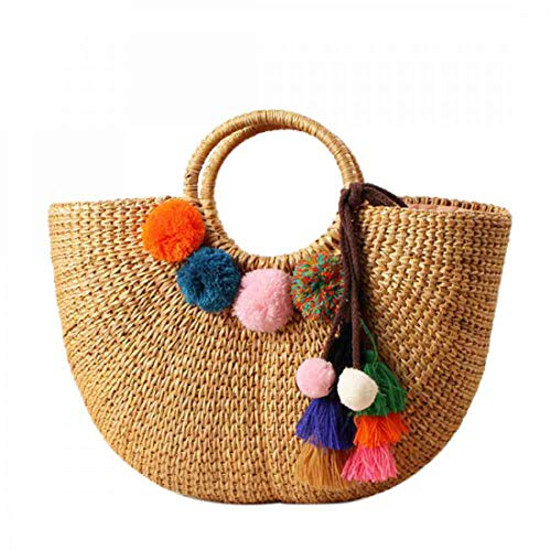 (Straw Bag Weave Handbags Handwoven Summer Beach Bags Hand Tote (Plush))
