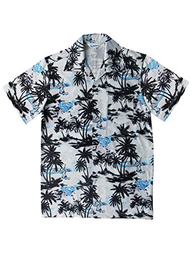 QRANSS Men's Relaxed-Fit Tropical Hawaiian Shirt Aloha Shirts (White Blue, X-Large/Chest 45