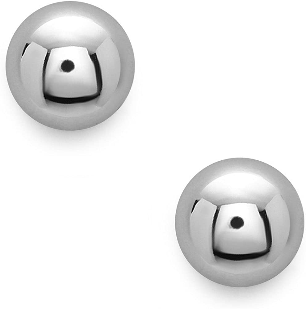 Sterling Silver Ball Stud Earrings in 4mm, 6mm, 8mm, 10mm, 12mm and 14mm in Silver, Gold or Rose Gold
