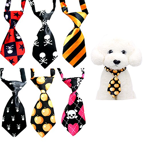 Yagopet 10pcs/pack Halloween Small Cat Dog Ties Skulls Dog Neckties Bow Ties Cat Dog Ties for Halloween Festival Dog Collar Dog Grooming (Cat Dog Halloween)