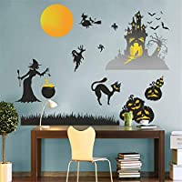 Kiddale Halloween Wall Decals DIY Removable Wall Stickers Halloween Decorations Party Supplies,Pumpkins Spooky Castle Cats Ghost Witch Bat and Yellow Moon