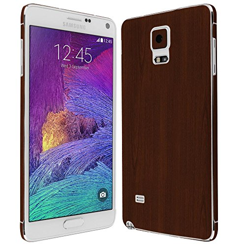 4 Screen Protector + Dark Wood Full Body, Skinomi TechSkin Dark Wood Skin for Samsung Galaxy Note 4 with Anti-Bubble Clear Film Screen ()