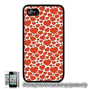 Red Mini Hearts Love Monogram Pattern For HTC One M7 Case Cover Skin Black