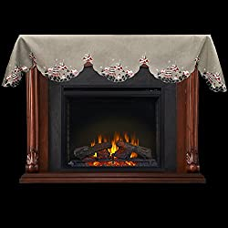 "Embroidered Outdoor Christmas Scene on Grey 16"" x 90"" Fireplace Mantel Scarf Piano Scarf Large Window Valance by Linens, Art and Things"