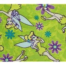 Fleece Fabric Printed ANTI PILL TINKER BELL PURPLE FLOWERS LICENSED