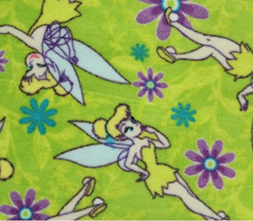 Fleece Fabric Printed ANTI PILL TINKER BELL PURPLE FLOWERS (Fleece Bell)