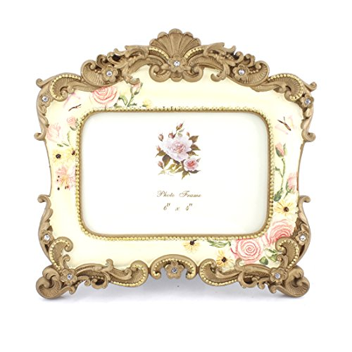 Frame Picture Floral (4x6 Inches Victorian Floral Decorated Rectangular Photo Frame for Home Decor)