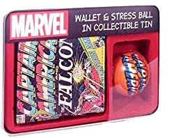 Marvel Captain America and The Falcon Wallet and Stress Ball in Collectible Tin