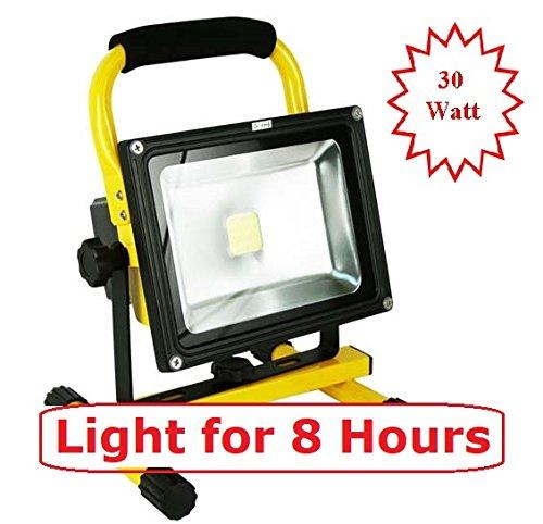 Cordless 30 Led Work Light (8 Hours Bright : MyraBec 30W CORDLESS Rechargeable LED Floodlight, 2 Brightness Levels,)