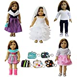 "6 PCS American Girl Doll Clothes and Accessories Set | Dress & Handbag for 18"" Dolls by ZITA ELEMENT"