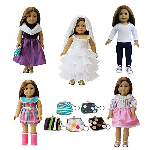 ZITA ELEMENT Doll Clothes -LOT 6= 5 Outdoor Casual Outfit /Wear +1 Handbag Fits American Girl Doll Clothes, My Life Doll, Our Generation and other 18 inch Dolls Outfit