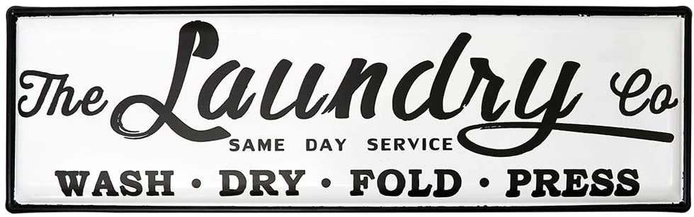 """EMAX HOME Wash Dry Fold Press Enamel Laundry Sign for Laundry Room,Vintage Large Laundry Room Wall Decor,Laundry Room Wall Art Waterproof 21"""" x 6.5"""""""