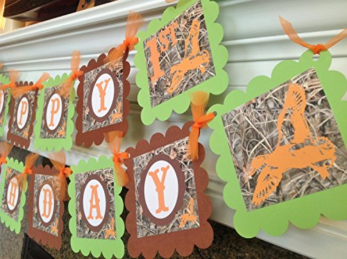 PARTY PACK SPECIAL - Duck Dynasty Inspired Happy Birthday Collection - Max 4 Camo Background & Lime Green, Orange and Brown Accents - Party Packs Available