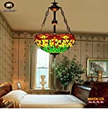 Makenier Vintage Decorative Tiffany Style Stained Glass Green Dragonfly Big Inverted Ceiling Pendant Lamp Fixture - 16 Inches Shade