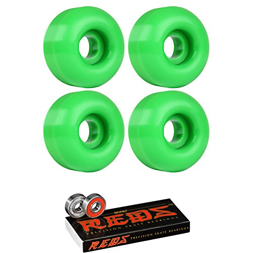 Skateboard Wheels 95A 51mm Kelly Green with Bones Reds Bearings ()