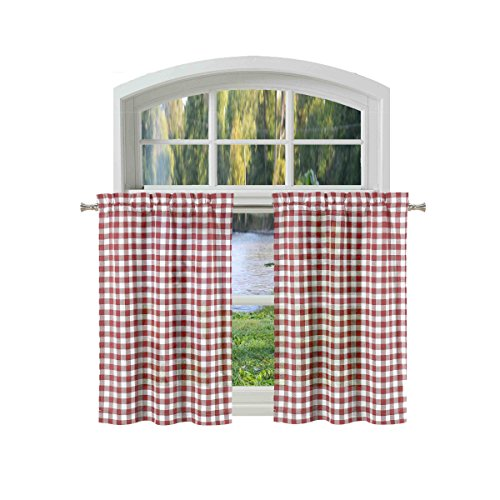 Gingham Tier Curtains - Bathroom and More Collection 2 Piece Window Curtain Café/Tier Set: Burgundy and White Cotton Rich Buffalo Check Design (Pair (2) Tiers 24in L Each)