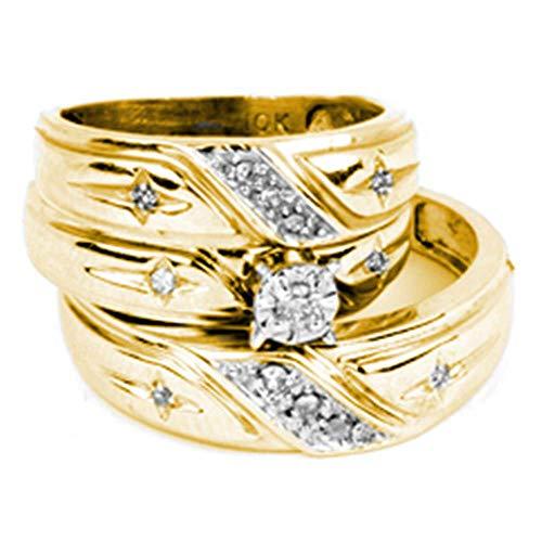 14k Yellow Gold Diamond Solitaire Engagement Ring + Wedding Bands Set Men Women Cross Style 1/5 ct