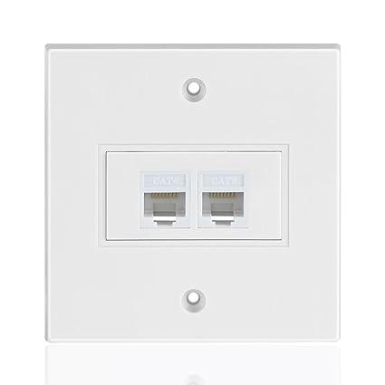 tnp ethernet network rj45 faceplate faceplate wall plate - dual (2 port)  rj45 cat6