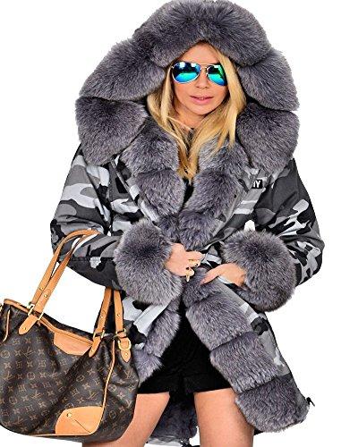 Roiii - Parka larga para mujer, con capucha Grey Grey