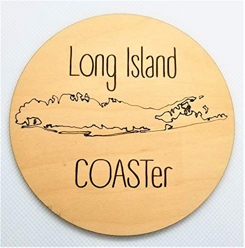 Long Island Drink Coasters - Set of 4 Maple Wood - New York Coastline Map - Laser Engraved Art - Housewarming Gift (Best Housewarming Gifts Nyc)