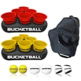 BucketBall - Team Color Edition - Party Pack (Red/Yellow): Original Yard Pong Game: Best Camping, Beach, Lawn, Outdoor, Family, Adult, Tailgate Game