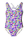 Girls' Hello Kitty Fringe One Piece Purple Swimsuit Swimwear Ruffle Bathing Suit (Purple, 5/6)