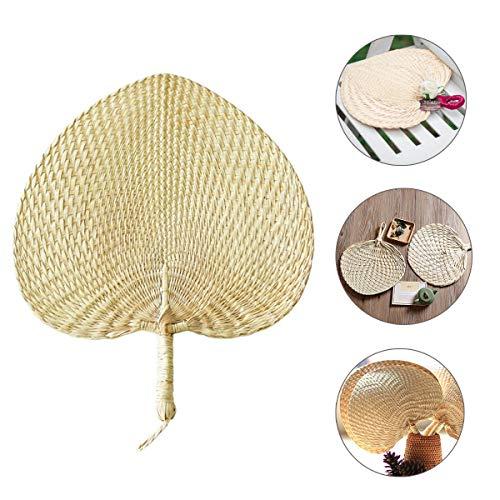 Natural Raffia Hand Fans Palm Leaf Hand Fans Wedding Favor Fans Handmade Wedding Favors Fan Exquisite Traditional Handicraft Fan (11.8inch)]()