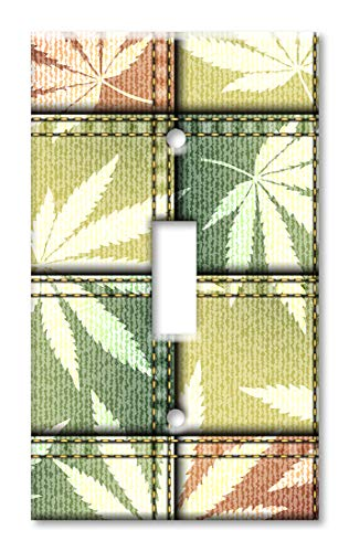 Art Plates 1-Gang Toggle OVERSIZED Switch Plate/OVER SIZE Wall Plate - Maple Leaf Fabric Squares