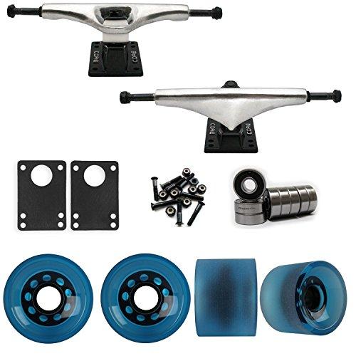 TGM Skateboards Core 6.0 Raw Longboard Trucks Wheels Package 70mm Sliding Wheels Blue
