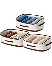 UBBCARE Woven Closet Storage Bins Cotton Rope Trapezoid Storage Baskets Off-White Foldable Decorative Shelf Basket with Three Handles Set of 3