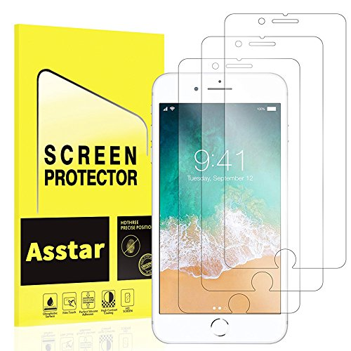 iPhone 7 Plus Screen Protector, [3 Pack] Asstar Tempered Glass Scratch-Resistant 9H Hardness Crystal Clear Bubble Free Screen Protector for Apple iPhone 7 Plus [ 5.5 inch ()