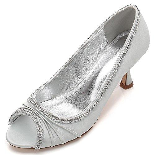 L @ Chaussures De Mariage Des Femmes Svhs Peep Toe Talon Satin Argent Dentelle Coutures Diamant