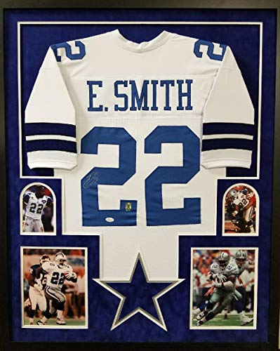 Emmitt Smith Dallas Cowboys Autograph Signed Custom Framed Jersey Suede Mat WHITE GTSM JSA Witnessed Certified