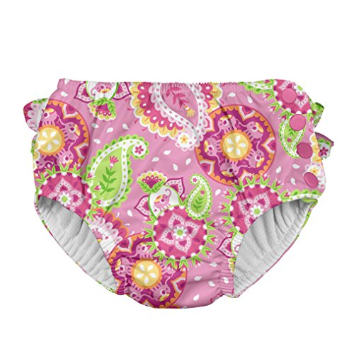 i play. Girls' Ruffle Snap Reusable Absorbent Swimsuit Diaper, Light Pink Paisley Elephant, 18mo