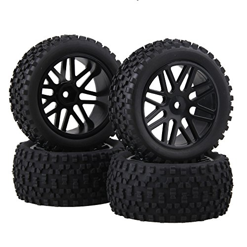 Nice BQLZR Front and Rear Mesh Shape Wheel Rim Rubber Tires for RC 1:10 Off-Road Car Pack of 4