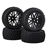 rc tires and wheels - BQLZR Front and Rear Mesh Shape Wheel Rim Rubber Tires for RC 1:10 Off-Road Car Pack of 4