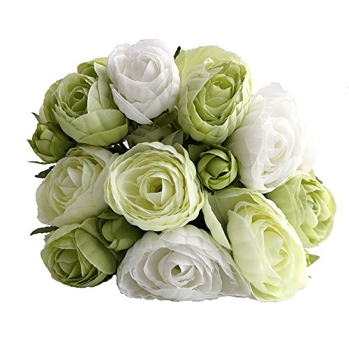 simoce Artificial Flowers 10 Heads Persian Buttercup Crowfoot Ranunculus Wedding Bride Hand Tied Bouquet Home Decoration Silk-Like Lustring Fake Décor Flowers. 7.9H x 6.3W inches. (White-Green)