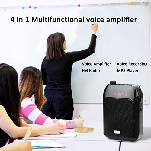Retekess T9 15W Portable Voice Amplifier Rechargeable Mini With Wired Microphone Headset FM AUX In Jack MP3 Player Voice Recording for Teachers Coaches Training Fitness Class(Black) by Retekess (Image #2)'