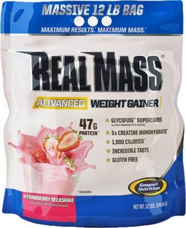 (Gaspari Nutrition Real Mass Advanced Weight Gainer, Strawberry Milkshake, 12)