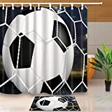 NYMB Sports Decor Soccer 69X70in Mildew Resistant Polyester Fabric Shower Curtain Suit With 15.7x23.6in Flannel Non-Slip Floor Doormat Bath Rugs (Multi25)