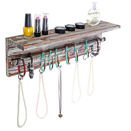 Weathered Iron Finish Pendants - MyGift Wall Mounted Torched Wood 9 Hook Necklace Hanger with Bracelet Bar Display Jewelry Rack and Shelf
