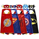 Keistore Cape and Mask Bracelet Set of 5 Superhero Dressing Up Costumes for Kid