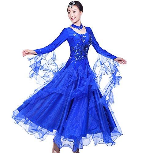 ZooBoo PromBallroom Dance Dresses - Dancing Modern Smooth Waltz Tango Party Latin Swing Competition Dancewear Skirt Dress Costumes Long Sleeve Leotard Apparel for Women (L, Royal