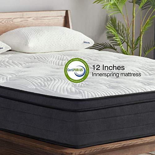 Sweetnight King Mattress in a Box – 12 Inch Plush Pillow Top Hybrid Mattress, Gel Memory Foam for Sleep Cool, Motion…