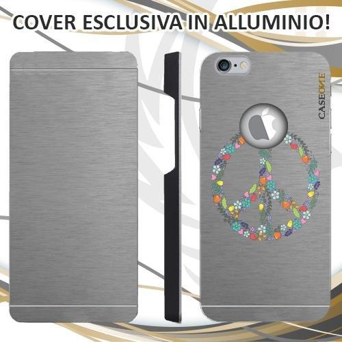 CUSTODIA COVER CASE FLOWER PEACE PER IPHONE 6S ALLUMINIO TRASPARENTE