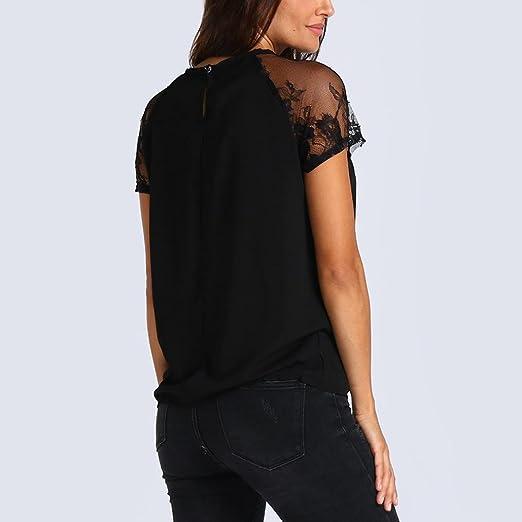 Camiseta De Mujer De Manga Corta para Mujer Blusa De Encaje De ChifóN Tops De Ropa: Amazon.es: Ropa y accesorios