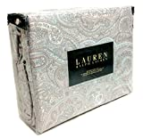 Ralph Lauren 4 Piece Queen or King Sheet Set Taupe Grey Paisley on White Boteh Pattern (Queen)