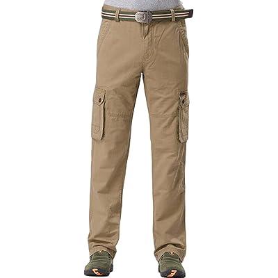 GAGA Mens Long Pants Casual Straight Leg Breathable Loose Trousers