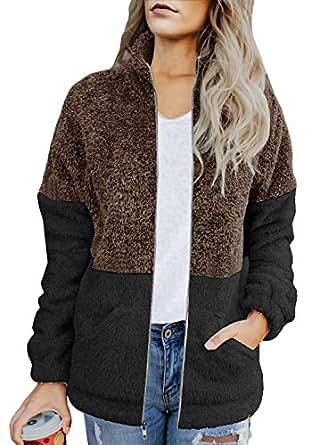 SAUKOLE Women's Fashion Long Sleeve Zip Up Sherpa Fleece Cardigan Coat Jacket Pockets Coffee